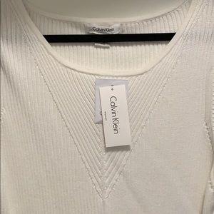 Calvin Klein NWT white cotton scoop neck sweater